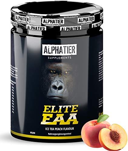 EAAs Pulver 500g Pfirsich-Eistee Geschmack - HÖCHSTE DOSIERUNG - alle essenzielle Aminosäuren - EAA Powder Ice Tea Peach - Alphatier - Essential Aminosäurepulver