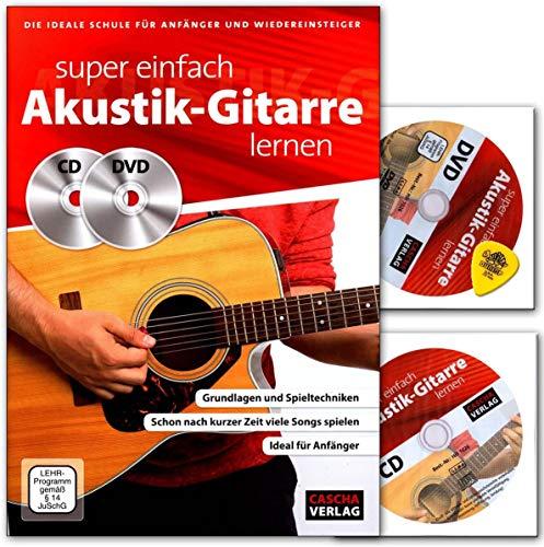 Super einfach Akustik-Gitarre lernen - ideale Schule für Anfänger und Wiedereinsteiger - Lehrbuch mit CD, DVD, Dunlop Plek