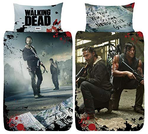 The Walking Dead New World Bettbezug für Einzelbett – Rick Grimes Daryl Dixon Design – wendbarer zweiseitiger Bettbezug mit passendem Kissenbezug