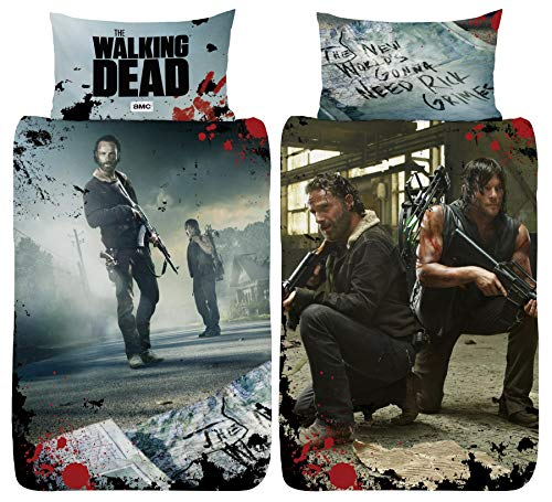 The Walking Dead New World Single Duvet Cover - Rick Grimes Daryl Dixon Design - Reversible Two Sided Bedding Duvet Cover With Matching Pillow Case