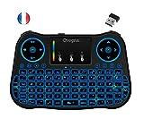 Ovegna T08: Mini teclado inalámbrico 2.4Ghz, francés (AZERTY), ergonómico inalámbrico con Touchpad – para Smart TV, Mini PC, HTPC, Consola, ordenador con Windows, Android, MacOS, Linux