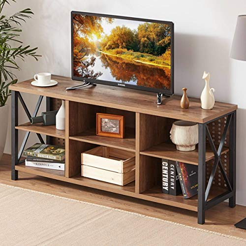 LVB TV Stand for 65 Inch TV, Mid Century Modern Entertainment Center for Living Room Bedroom, Industrial Farmhouse Wood and Metal Media TV Console with Storage Shelves, Rustic Oak, 55 Inch