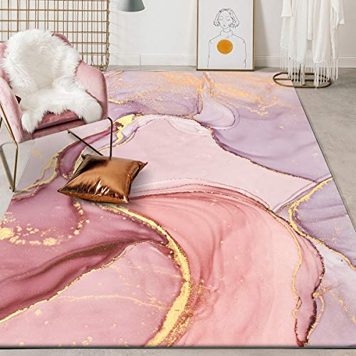 Abstract Carpet for Living Room Velvet Rectangle Modern Area Rugs Fashion Marble Pattern Rug Art Pink Carpets for Bedroom Kitchen Dinging Room Home Decore Floor Cover Mats A 3X5ft