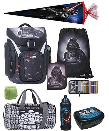 Familando Lego Schulranzen Modell Explorer mit Lego Star Wars Vader Motiv 8tlg. Set Federmappe gefüllt, Turnbeutel, große Sporttasche, Brotzeit-Dose, Trinkflasche, Schul-Tüte 85cm und Regenschutz