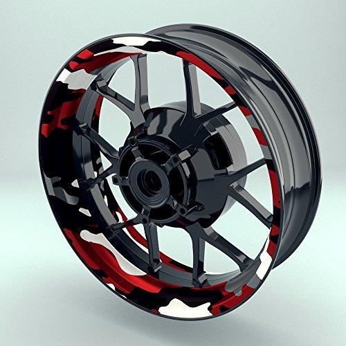 OneWheel Felgenrandaufkleber Motorrad 4er Komplett-Set (17 Zoll) - Felgebettaufkleber Camouflage Redwood (schwarz-weiß-rot) (Design 3 - matt)
