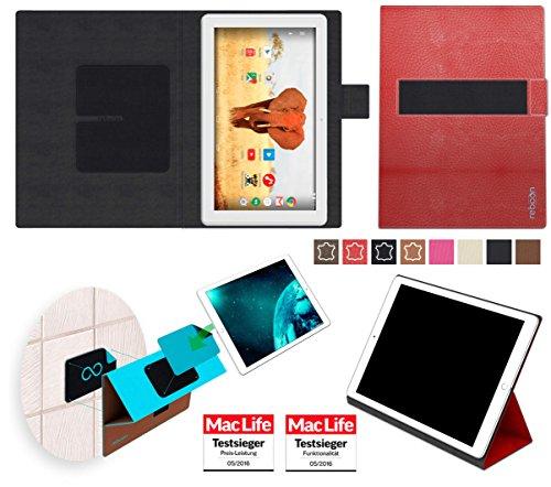 reboon Hülle für Archos 101 Magnus Tasche Cover Case Bumper | in Rot Leder | Testsieger