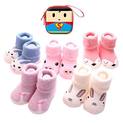 Sweetneed 6 Pares Calcetines Recien Nacido niño Calcetines de recién nacido Calcetines bebe niña Invierno 0-36 Meses Monedero Infantil de Dibujos Animados (Cartoon, S)