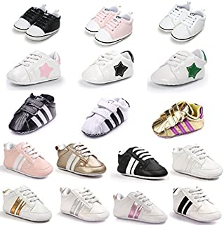 Sabe Unisex Infant Baby Boys Girls Soft Sole Prewalker Crib Casual Shoes Sneakers [並行輸入品]