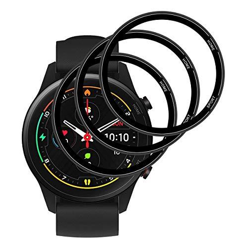 GEEMEE Protector de Pantalla para Xiaomi Mi Watch,[3 Pack] Humedecido Instalacion Ultra Claro Protector TPU Película Cobertura Completa