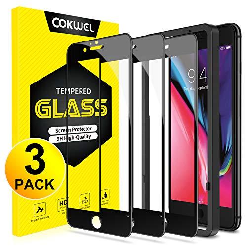 COKWEL [3 Pezzi Pellicola Protettiva Compatibile con iPhone 6 Plus/6s Plus, Vetro Temperato [Installazione Facile Cornice di Allineamento] [Copertura Completa] [Senza Bolle]