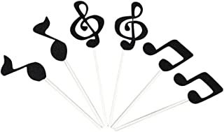 ULTNICE Cake Topper Music Symbol Notes Decorations Party Supplies For Happy Birthday Cake 6 Pcs (Black)