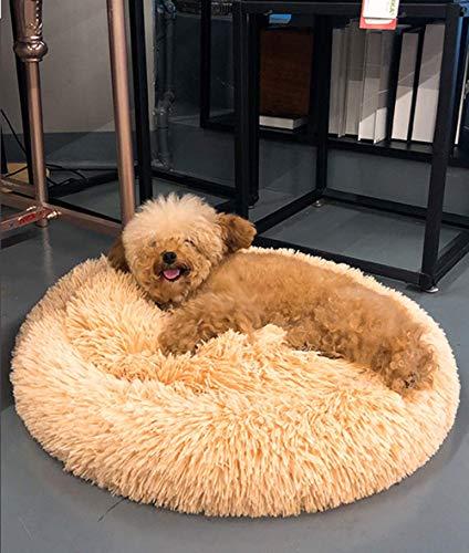Calming Comfy Donut Katzenbett, Plüsch, warm, Marshmallow, rundes Hundekissen, atmungsaktives Kunstfell, Hundebett, Höhle für Welpen, Kätzchen, Beige, 60 cm