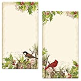Holly & Birds Magnetic Holiday Themed Notepads – Set of 2, 60-Sheet Pads, 3½ x 6½ Inches, Memo Pad, Shopping List, To-Do Notes, Christmas Letters, by Current