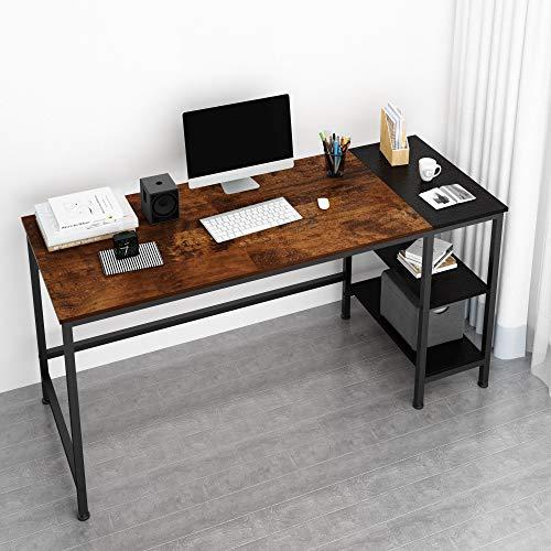 JOISCOPE Computertisch, Laptop-Tisch, Arbeitstisch mit Holzregalen, Tisch im Industriestil aus Holz und Metall,152 x 60 x 75 cm(Eiche Vintage Finish)