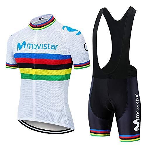 Hi!Hi Maillot Ciclismo Corto De Verano para Hombre,Camisa Transpirable De Secado Rápido + Pantalones Cortos con Babero Acolchados,Uniformes De Bicicleta De Verano