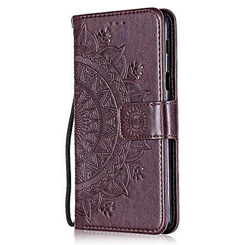 Galaxy M30 Hülle, Bear Village PU Leder Flip Hülle, Stoßfest Brieftasche Handyhülle mit Multifunktion Ständer und Kartenfach für Samsung Galaxy M30, Braun