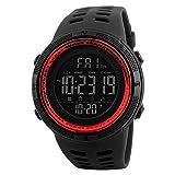 SKMEI - Reloj de Digital Electrónico de los Deportes al Aire Libre para Estudiantes Hombres, Banda de Reloj Ajustable, Multifunciones, Rojo