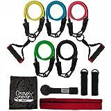 protone resistenza bande insieme - 5 tubo set con maniglie, porta ancora, cinturini alla caviglia e borsa per attrezzi da fitness / palestra di viaggio / forza