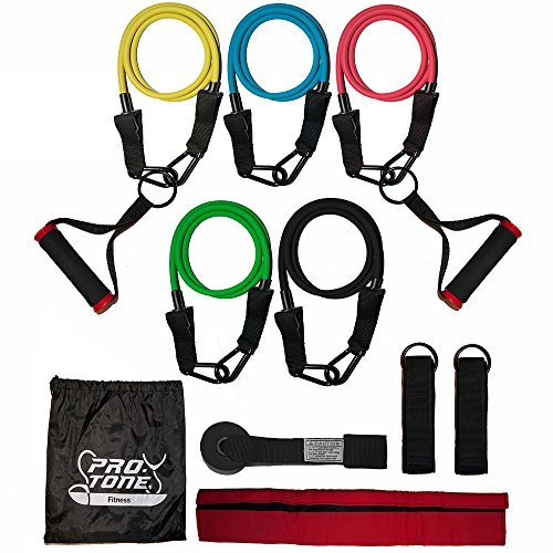 Protone resistance bands set - 5 x exercise tube set with handles, door anchor, ankle straps and carry bag for home fitness / travel fitness / strength / men and women
