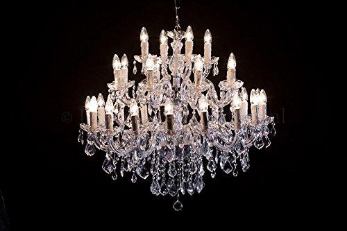 Kronleuchter Maria Theresa 28 armig Chrom - Ø95cm Venezianischen Glas - Klassisches Luster Silberfarbe 28 Armig