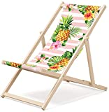 Novamat Gartenliege aus Holz Klappbar Liegestuhl Relaxliege Strandstuhl Klappliegestuhl, Motiv:Bunte Ananas. rosa Hintergrund