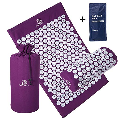 Acupressure Mat and Pillow Massage Set - by DoSensePro + Gel Pack. Acupuncture Mattress for Neck and Back Pain. Relieve Sciatic, Headaches, Aches at Pressure Points. Natural Sleeping Aid