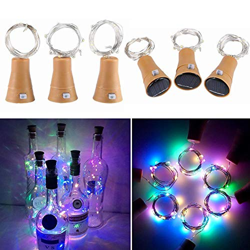 Toifucos Solar Wine Bottle Lights, 6 Pack 20 LED Waterproof Copper Cork Shaped Lights Firefly String Lights for DIY Wedding Party Outdoor, Holiday, Garden, Patio Pathway Decor, Multicolor