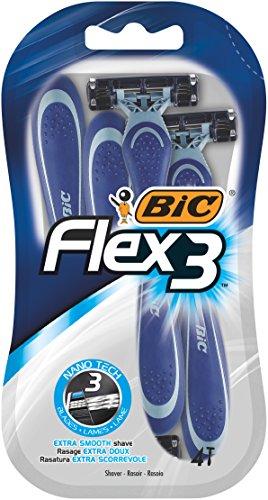 BIC Flex3 wegwerp graveermachine voor heren, 4 stuks