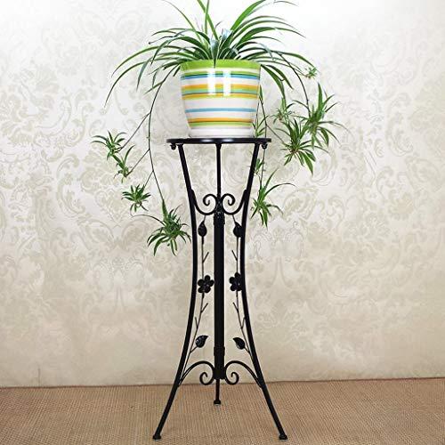 CKH Salon européen Pliant intérieur Balcon Couche Unique Tige Verte Suspendu étagère en orchidée en Fer forgé Plancher Pot Rack Noir