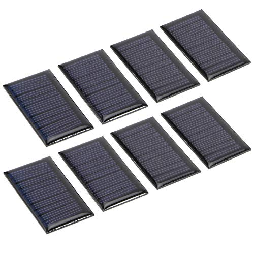 Jenngaoo 8Pcs 30MA 5V Mini Paneles Solares, 53 X 30mm Módulo de Células de Panel Solar de Silicio Policristalino Portátil DIY Placa de Epoxi Solar Materiales de Juguete Eléctrico