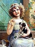 5D DIY diamante bordado chica Cruz puntada diamante pintura retrato bordado kit redondo diamantes de imitación mosaico decoración del hogar A5 40x50cm