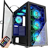 MUSETEX 6 PCS × LED ARGB Fans Pre-Installed 2 PCS × USB 3.0 Ports ATX Tower Case Magnetic Design Opening Tempered Glass Door Gaming PC Case(230MN6)