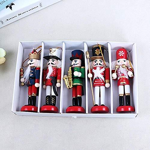 1pc Cascanueces De La Navidad Fijados Cascanueces De Madera Que Cuelga Las Decoraciones para El Árbol De Navidad Figuras Regalos Juguete Marioneta Random Style