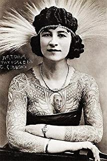 1920's Carnival Sideshow - Artoria Gibbons - The Tattooed Woman - Postcard Poster