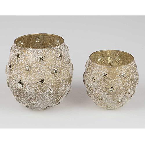 Formano 820211 Windlicht 17cm Stars - Antik aus mattem Farbglas in antiker Optik mit Goldenen, glänzenden Sternen Veredelt