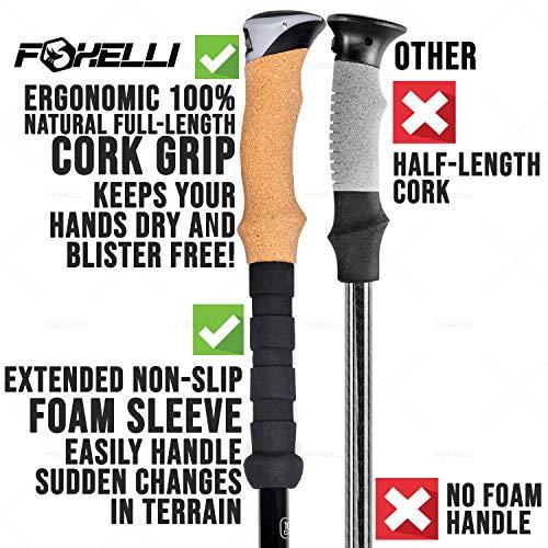 Foxelli Carbon Fiber Trekking Poles – Collapsible, Lightweight, Shock-Absorbent, Hiking, Walking & Running Sticks with Natural Cork Grips, Flip Locks, 4 Season/All Terrain Accessories and Carry Bag