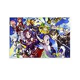 XUWEIX Sword Art Online Pop Anime Video Game Poster Caracteres Lienzo Arte de Pared Impresión Moderna Familiar Dormitorio Decoración Posters 60x90cm