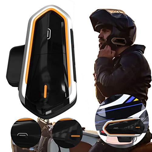 QTBE6 Auriculares con intercomunicador para Casco de Motocicleta Auriculares con intercomunicador inalámbricos Negro y Naranja