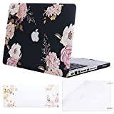 MOSISO MacBook Pro 13 inch Case A1278 Release 2012-2008, Plastic Peony Hard Shell Case & Keyboard Cover Skin & Screen Protector Compatible with Old Version MacBook Pro 13 inch with CD-ROM, Black