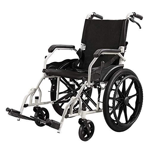 WZC Silla de ruedas de aluminio grueso, Plegable/Ligero/Empujar a mano/Portátil mayor/Viajes/Scooter/Inhabilitado, Silla...