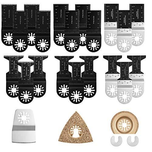 Kohree 23pcs Lames de Scie Oscillante Lame pour Outil Multifonction Accessoires pour Bosch Dewalt Fein Multimaster Black et Decker pour Travaux Manuels Bois Plastique