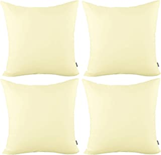 4-Pack Cotton Comfortable Solid Decorative Throw Pillow Case Square Cushion Cover Pillowcase(Cover Only,No Insert) (18x18 inch/ 45x45cm,Light Yellow)