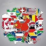 JIAQI Borsa per Adesivi Vinile Impermeabile Mappa del Mondo Marea Marchio Adesivi per valigie Adesivi per Bagagli creativi Adesivo per valigie per Trolley da Parete per personalità 37Pz