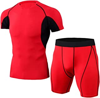 Men's Sports Compression Fast Drying Elastic Fitness T-Shirt Tops+Short Pants Sports Tight Suit Beautyfine