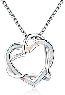 Fashion Two Hollow Heart Intertwined Fire Opal Pendant Necklace,Charm 925 Sterling Silver Hypoallergenic Love-heart Dangle...