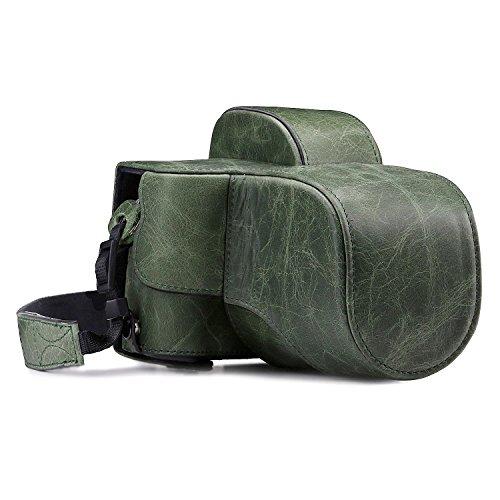 MegaGear Ever Ready Custodia in Vera pelle per Fotocamera con Tracolla Fujifilm X-E3 (23mm & 18-55mm) - Verde - MG1341