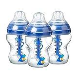Tommee Tippee Advanced Anti-Colic Baby Bottle, Slow Flow Breast-Like Nipple, Heat-Sensing Technology, BPA-Free - Blue - 9 Ounce, 3 Coun