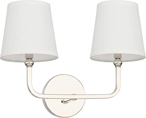 popular Capital Lighting 119321PN-674 Dawson 2 Light Transitional Bath Vanity Approved high quality for sale Damp Locations, Polished Nickel Finish with White Fabric Stay Straight Shade outlet online sale