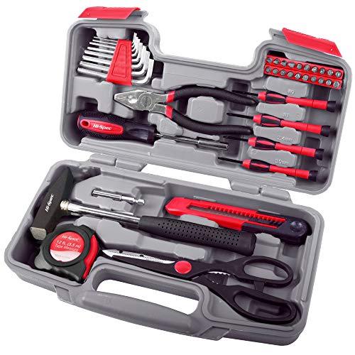 Hi-Spec 39Teiliges Handwerkzeug im praktischer Aufbewahrungsbox mit Hammer, Schraubenzieher, Hex-Schlüssel und Zange