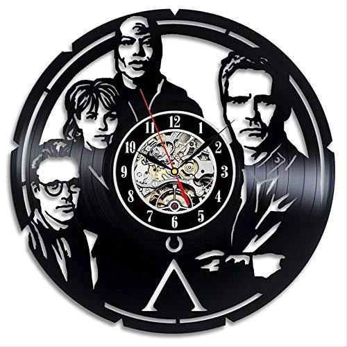 Zller2587 Schallplatte 12-Zoll-Wanduhr Stargate Uhr der Karikatur 3D Wohnzimmer, Kinderzimmer, Schlafzimmer Dekoration Geschenk des Kindes 12 Zoll schwarz